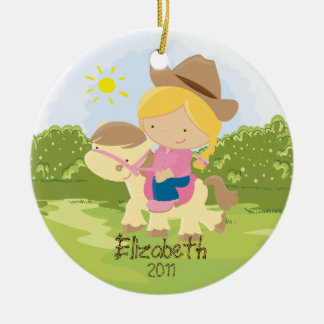 Cowgirl Horseback Rider  Christmas Ornament Girl