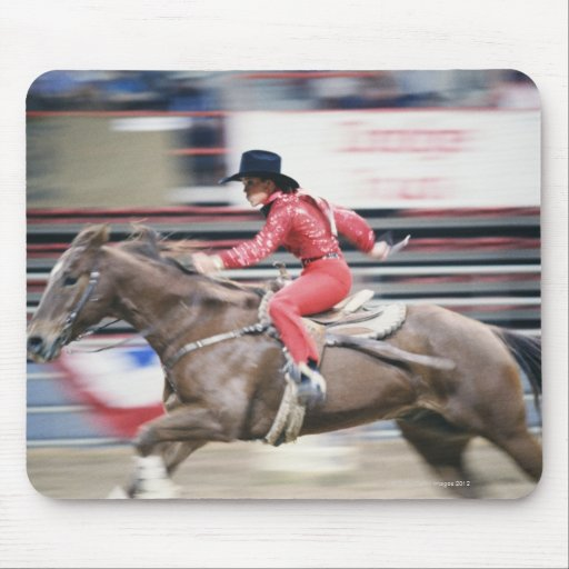 Cowgirl in the Rodeo Mouse Pads