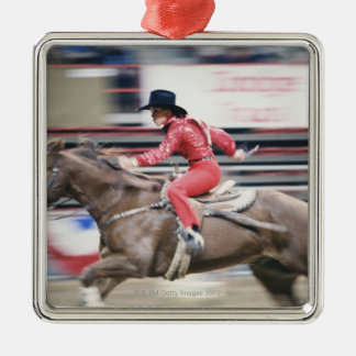 Cowgirl in the Rodeo Silver-Colored Square Decoration