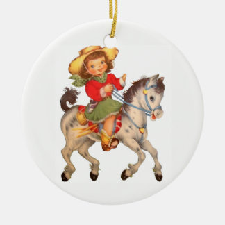 Cowgirl Kid Christmas Ornament