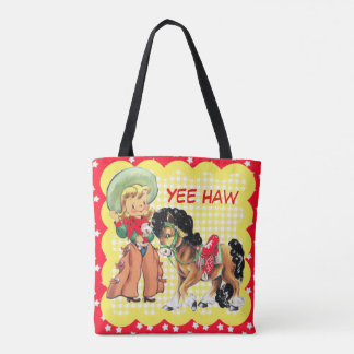 Cowgirl Kid With Horse Custom Text Tote Bag