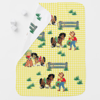 Cowgirl Kids With Horses and Fence with Rope Baby Blanket