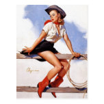Cowgirl on a Fence Pin-Up Postcard