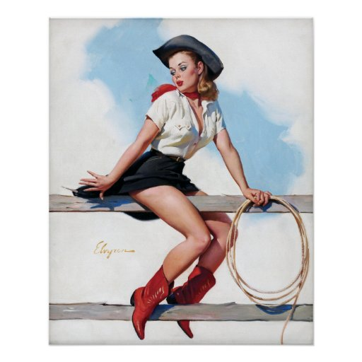 Cowgirl on Fence Vintage Pin Up Poster