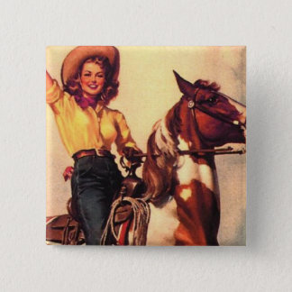 Cowgirl on Her Horse 15 Cm Square Badge
