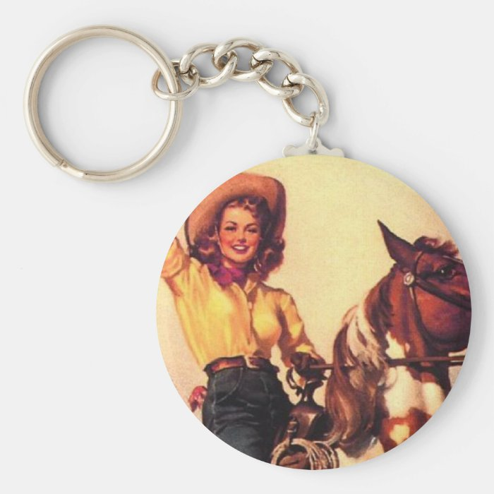 Cowgirl on Her Horse Basic Round Button Key Ring