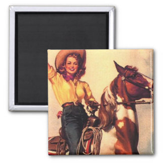 Cowgirl on Her Horse Refrigerator Magnets
