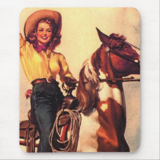 Cowgirl on Her Horse Mouse Mat