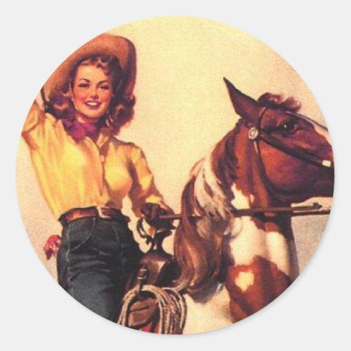 Cowgirl on Her Horse Round Sticker