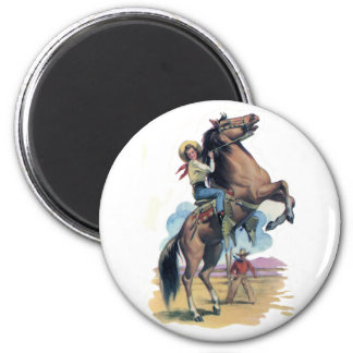 Cowgirl on Horse 6 Cm Round Magnet