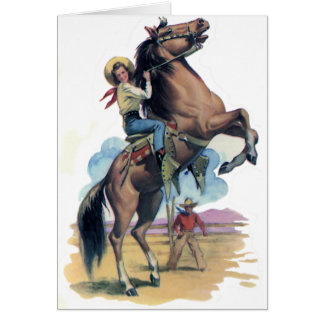 Cowgirl on Horse Card