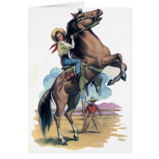 Cowgirl on Horse Greeting Card