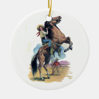 Cowgirl on Horse Christmas Ornament