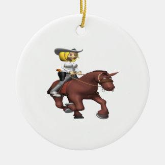Cowgirl On Horse Round Ceramic Decoration