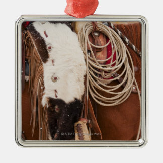 Cowgirl on horse Silver-Colored square decoration
