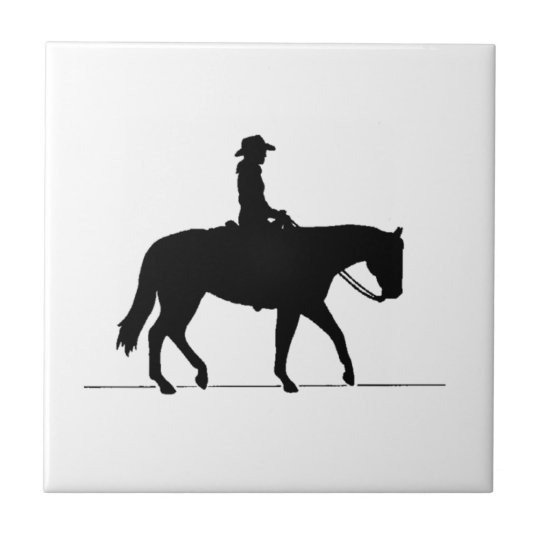 Cowgirl on Horse Small Square Tile