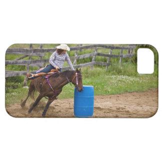 Cowgirl on horseback practicing barrel racing in iPhone 5 case