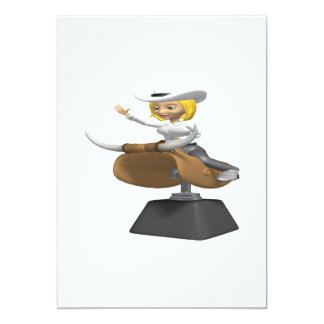 "Cowgirl On Mechanical Bull 5"" X 7"" Invitation Card"