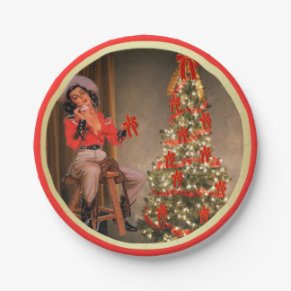Cowgirl On Saddle With Christmas Tree Gold Red Paper Plate