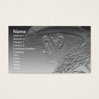 Cowgirl on silver metallic background business card