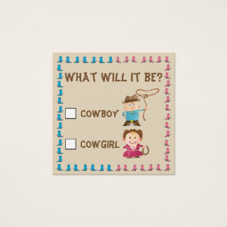 Cowgirl or Cowboy Gender Reveal Ballot Square Business Card
