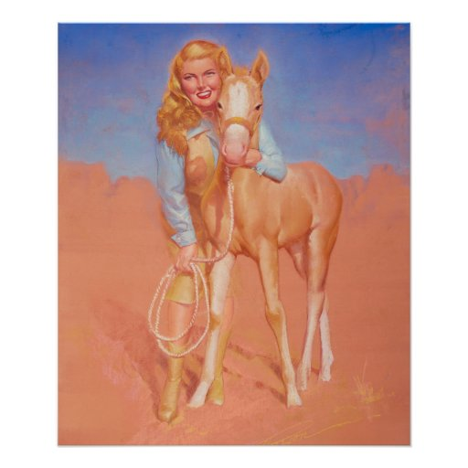 Cowgirl Pin Up Art Poster