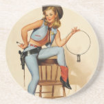 Cowgirl Pin-up Girl Drink Coasters