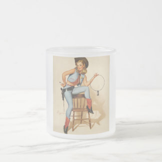 Cowgirl Pin-up Girl Frosted Glass Coffee Mug