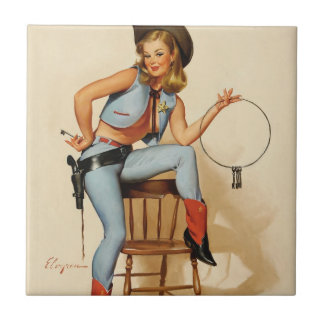 Cowgirl Pin-up Girl Small Square Tile