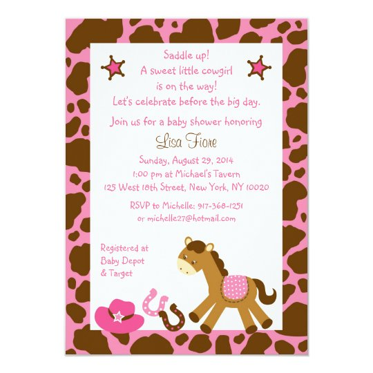 Cowgirl Pony Baby Shower Invitations