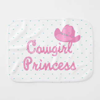 Cowgirl Princess Text With Hat Burp Cloth