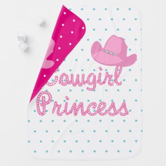 Cowgirl Princess Text With Hat Receiving Blankets