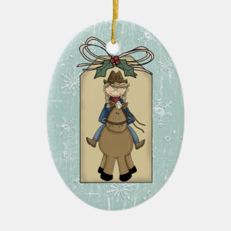 Cowgirl Riding Horse Gift Tag Keepsake Christmas Ornament