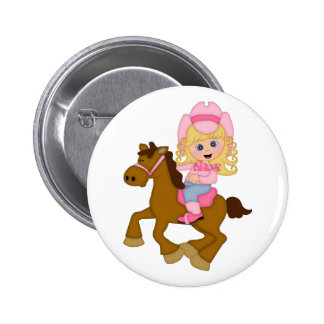 Cowgirl Riding Horse (pink) 6 Cm Round Badge