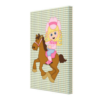 Cowgirl Riding Horse (pink) Canvas Prints