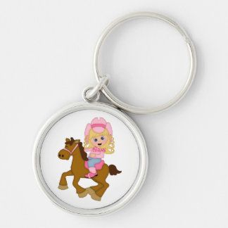 Cowgirl Riding Horse pink Key Chains