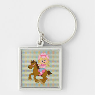 Cowgirl Riding Horse pink Keychains