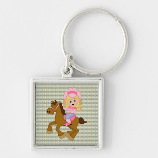 Cowgirl Riding Horse (pink) Keychains