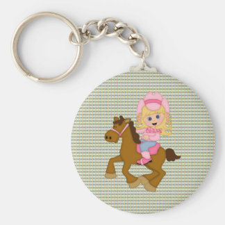 Cowgirl Riding Horse pink Keychain