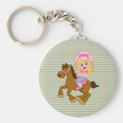Cowgirl Riding Horse (pink) Keychain