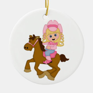 Cowgirl Riding Horse (pink) Round Ceramic Decoration