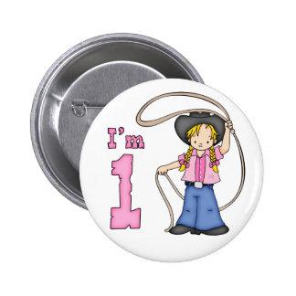 Cowgirl Roper 1st Birthday 6 Cm Round Badge