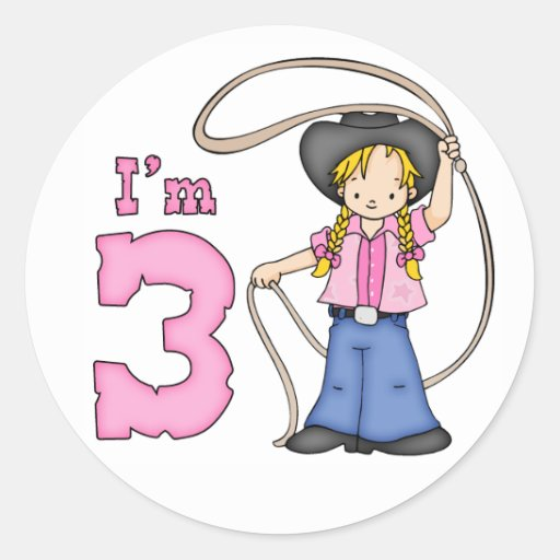 Cowgirl Roper 3rd Birthday Stickers