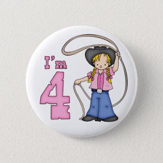 Cowgirl Roper 4th Birthday 6 Cm Round Badge