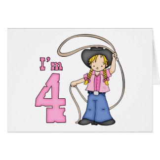 Cowgirl Roper 4th Birthday Invitations