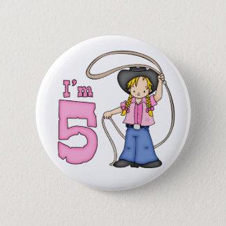 Cowgirl Roper 5th Birthday 6 Cm Round Badge