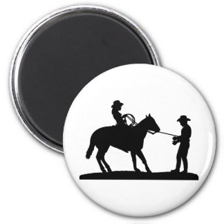 Cowgirl Roping Cowboy 6 Cm Round Magnet