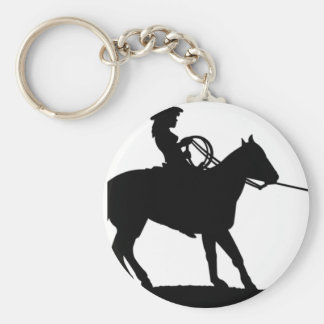 Cowgirl Roping Cowboy Basic Round Button Key Ring