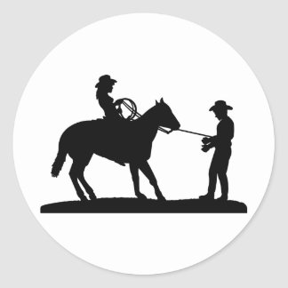 Cowgirl Roping Cowboy Classic Round Sticker