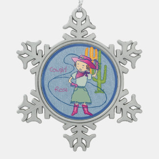 Cowgirl Rose Rodeo Champ Pewter Snowflake Decoration